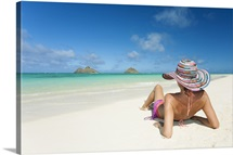 Hawaii, Oahu, Lanikai Beach, Woman Relaxing Along Sandy Shore