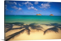 Hawaii, Oahu, Lanikai, Palm Shadows On Beach, Mokulua Islands In Distance