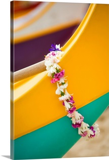 Hawaii, Oahu, Lei Draped Over Outrigger Canoe