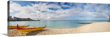 Hawaii, Oahu, Waikiki, Outrigger Canoes On The Beach