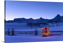 Holiday Wreath on Split Rail Fence Colorado Winter Sneffels Range Rocky Mtns
