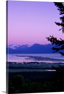 Homer and Homer Spit sunset, Kenai Mountains, Kachemak Bay