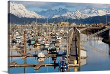 Homer boat harbor in Spring, Kenai Peninsula, Alaska