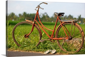 indonesia bali ubud vintage bike in front of rice fields photo canvas print great big canvas. Black Bedroom Furniture Sets. Home Design Ideas