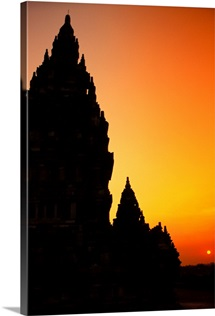 Indonesia, Java, Prambanan, Shiva Mahadeva Temple Silhouetted At Sunset