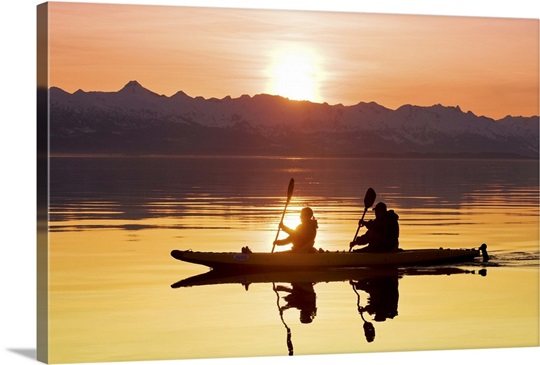 Kayakers paddle in Lynn Canal with the Chilkat Mountains, Tongass Forest, Alaska