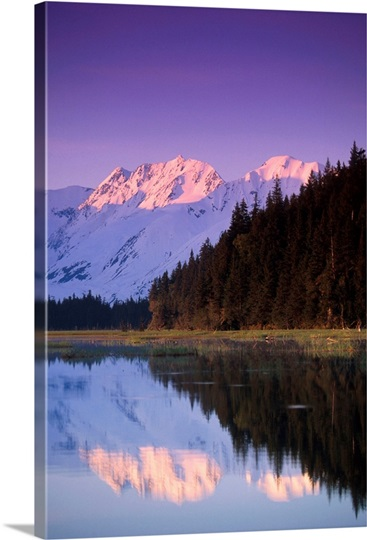 Kenai Mtns reflected in lake Southcentral AK summer scenic