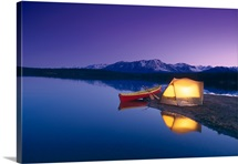 Lighted Tent & Canoe Byers Lake Tokosha Mts SC AK Evening Summer