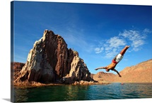 Man Dives Into Water Off Espiritu Santos Island Near La Paz, Baja California, Mexico