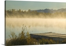 Morning Mist Rises on 6 Mile Lake SC AK Autumn Elmendorf Airforce Base