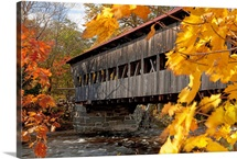 New England, New Hapshire, White Mountains, A Covered Bridge Over A River In Autumn