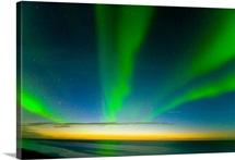 Northern lights in the night sky over the Beaufort Sea