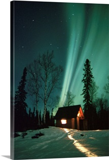 Northern Lights over Cabin Scotty Lake Petersville Rd AK Winter Snow