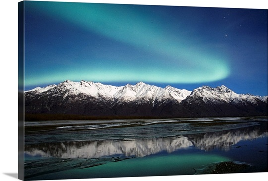 Northern Lights Over Chugach Mts  Knik River Southcentral Alaska