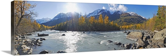 Panorama view of Rapids Camp along Eagle River in Chugach State Park