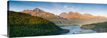 Panorama view of the Matanuska River and Chugach Mountains