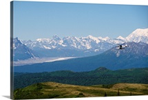 Piper Supercub on Floats Over Alaska Range