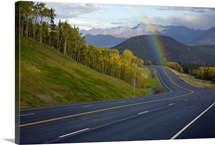Rainbow over Glenn Highway in Matanuska Valley during Autumn in Southcentral Alaska