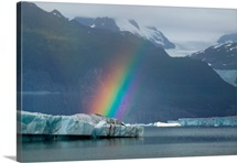 Rainbow over iceberg on Alsek Lake Glacier Bay National Park St.Elias Mountains