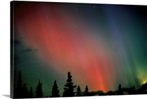 Red & Green Northern Lights Winter Alaska