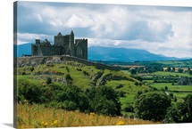 Rock Of Cashel, Ireland, Landscape With The Rock Of Cashel In The Distance