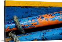 Rustic Boat Parts, Detail Of Wooden Structure And Colorful Peeling Paint