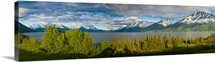 Scenic panoramic view of Turnagain Arm near Bird Point in Southcentral Alaska