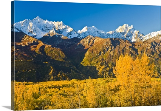 Scenic view of Chugach Mountains along Matanuska Valley in Southcentral Alaska