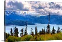 Scenic view of Kachemak Bay near Homer, Alaska during Spring