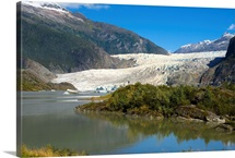 Scenic view of Mendenhall Glacier in Southeast Alaska