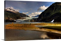 Scenic view of Mendenhall Glacier near Juneau, Alaska in Autumn
