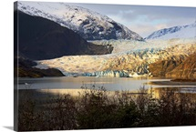 Scenic view of Mendenhall Glacier near Juneau, Alaska in late Autumn