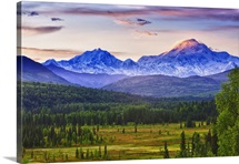 Scenic view of Mt. McKinley and Mt. Hunter seen from Susitna Valley