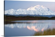 Scenic view of Mt. McKinley and the Alaska Range from Reflection Pond at sunset