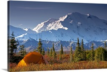 Scenic view of Mt. McKinley in the morning with tent in the foreground