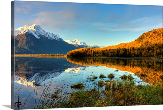 Scenic view of Pioneer Peak reflecting in Jim Lake in Mat-Su Valley, Alaska