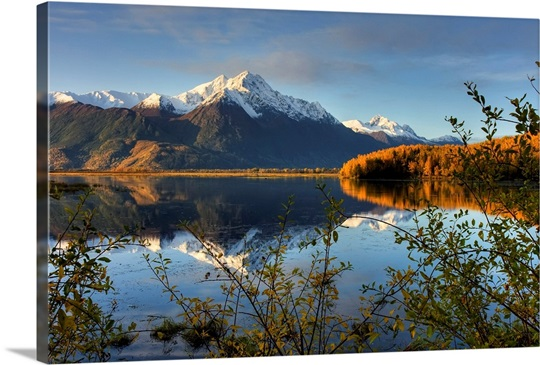 Scenic view of Pioneer Peak reflecting in Jim Lake in Mat Su Valley, Alaska