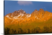 Scenic view of Twin Peaks as seen from Knik River in Southcentral Alaska during Summer