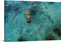 School Of Fish Encircling Woman Floating In Tropical Ocean Water