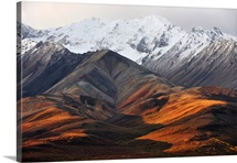Snowcapped mountains of the Alaska Range during Autumn in Denali National Park
