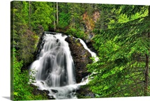 South Fork Eagle River Falls near Eagle River, Southcentral Alaska, Summer, HDR
