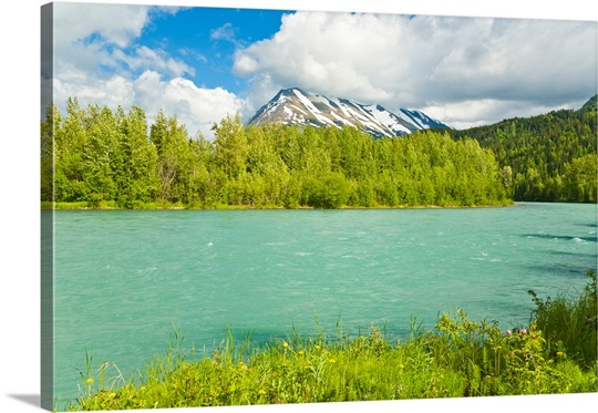 Summer scenic of Upper Kenai River near Cooper Landing on the Kenai Peninsula, Alaska