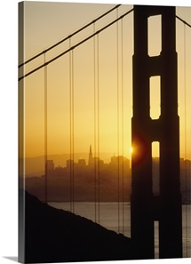 Sunrise Behind The Golden Gate Bridge; San Francisco, California