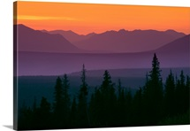 Sunset over Kluane Mountains near Haines Highway British Columbia Canada Summer