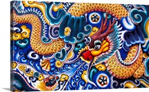 Thailand, Ayuthaya, Bang Pa-In Palace, Brightly Painted Chinese Dragon