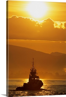 Tugboat At Sunrise, Burrard Inlet, Vancouver British Columbia, Canada