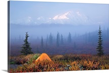 Wonder Lake campground with tent in the foreground and Denali partially osbsured by fog