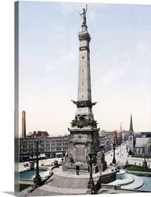 Army and Navy Monument Indianapolis Indiana Vintage Photograph
