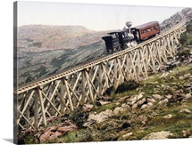 Jacobs Ladder Mt. Washington Railway White Mountains New Hampshire Vintage Photograph