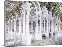 Library of Congress Second Floor Central Stair Hall Vintage Photograph